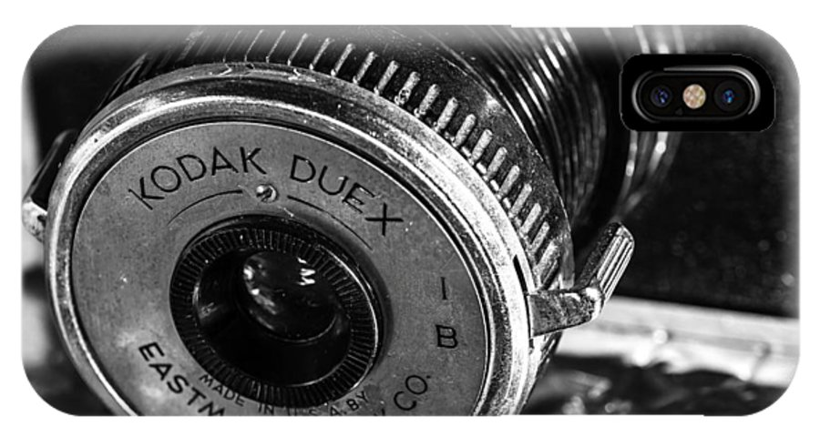 Detail IPhone X Case featuring the photograph Vintage Kodak Duex Camera by Jon Woodhams