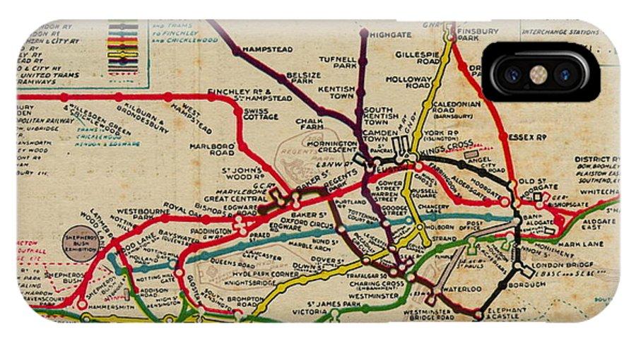 Subway Map Phone.Vintage London Subway Map Iphone X Case