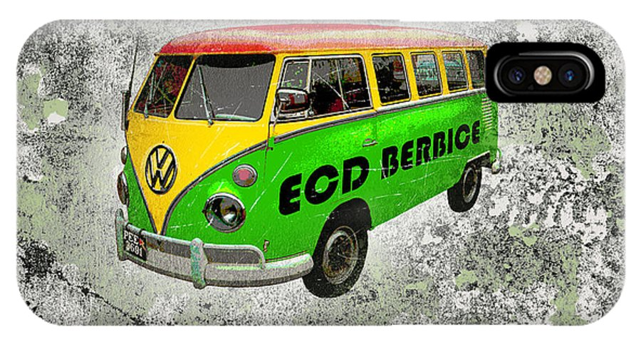 Mini Bus IPhone X Case featuring the digital art Vintage Minibus by Mark Khan