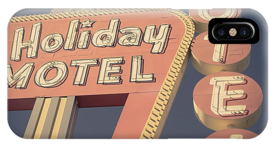 Neon IPhone X Case featuring the photograph Vintage Motel Sign Holiday Motel Square by Edward Fielding