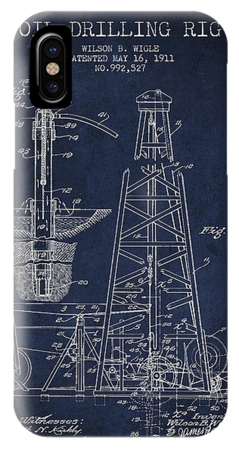 Oil IPhone X Case featuring the digital art Vintage Oil Drilling Rig Patent From 1911 by Aged Pixel