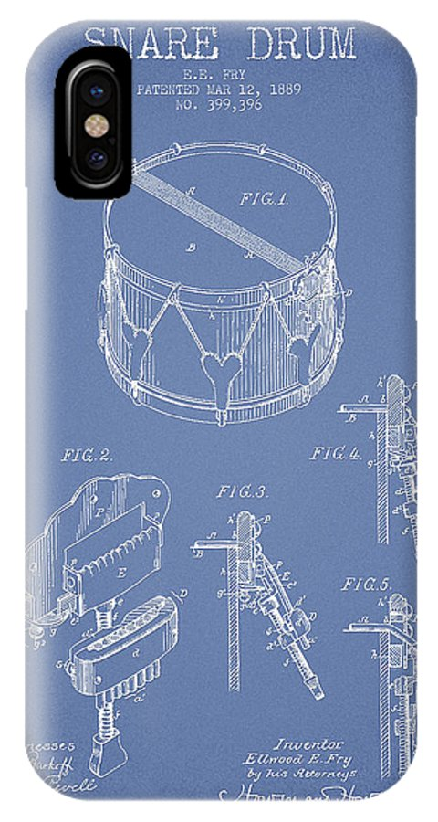 Snare Drum IPhone X Case featuring the digital art Vintage Snare Drum Patent Drawing From 1889 - Light Blue by Aged Pixel