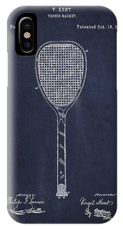 Tennis IPhone X / XS Case featuring the digital art Vintage Tennnis Racket Patent Drawing From 1887-navy Blue by Aged Pixel