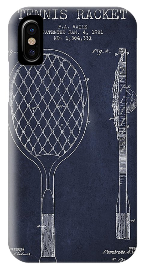 Tennis IPhone X / XS Case featuring the digital art Vintage Tennnis Racket Patent Drawing From 1921 - Navy Blue by Aged Pixel