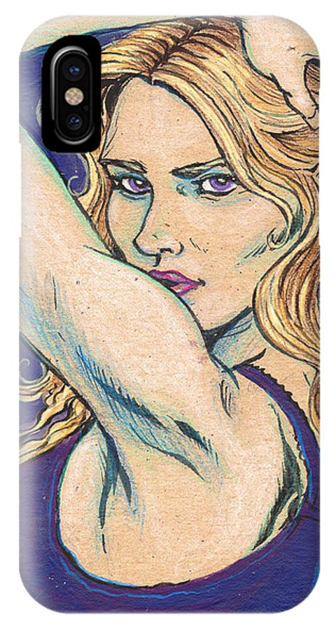 Model IPhone X Case featuring the drawing Violet Looker by John Ashton Golden