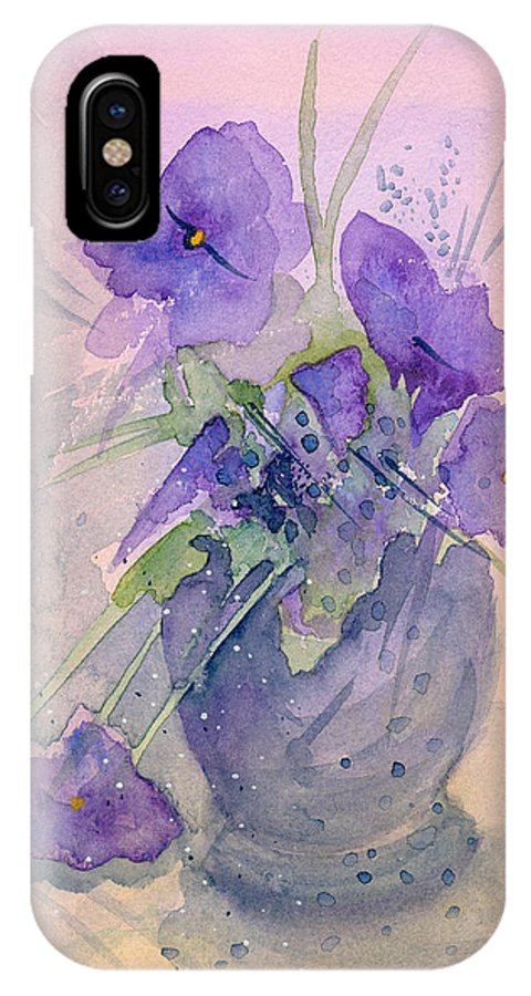 Purple IPhone Case featuring the painting Violets by Christina Rahm Galanis