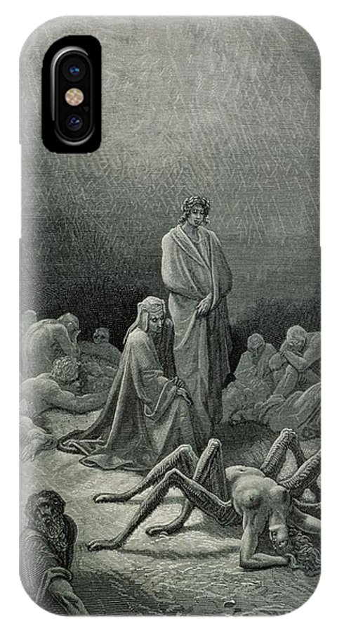 Dore IPhone X Case featuring the drawing Virgil And Dante Looking At The Spider Woman, Illustration From The Divine Comedy by Gustave Dore