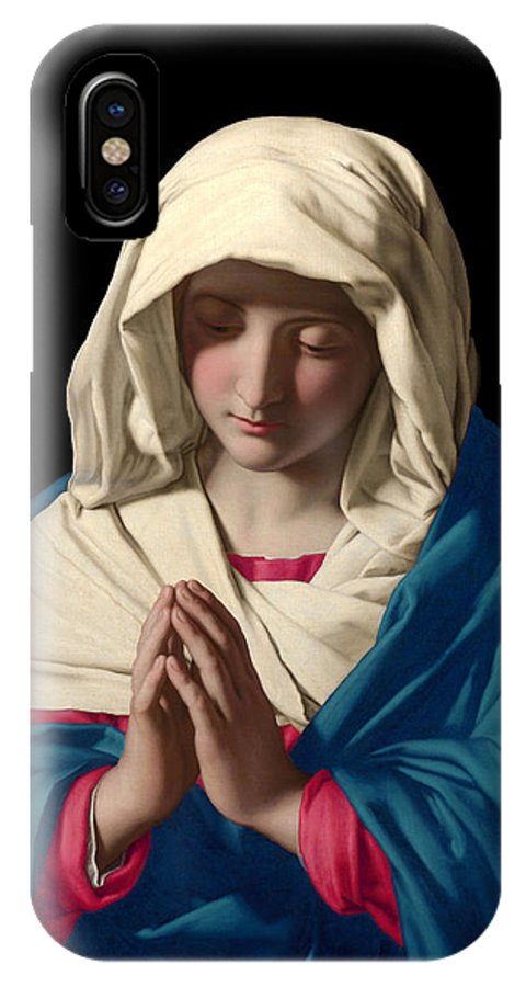Mary IPhone X Case featuring the digital art Virgin Mary In Prayer by Sassoferrato