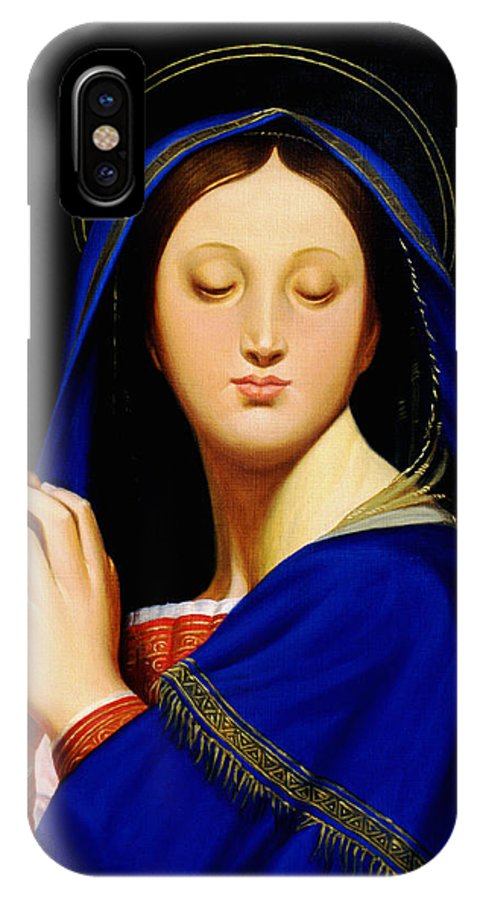 Religious IPhone X Case featuring the painting Virgin With The Host After Ingres by Gary Hernandez