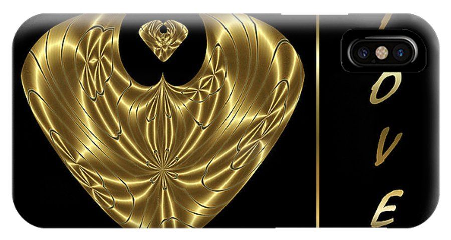 Graphic IPhone X Case featuring the digital art Virtual Metal - Love by Janelle Losoff