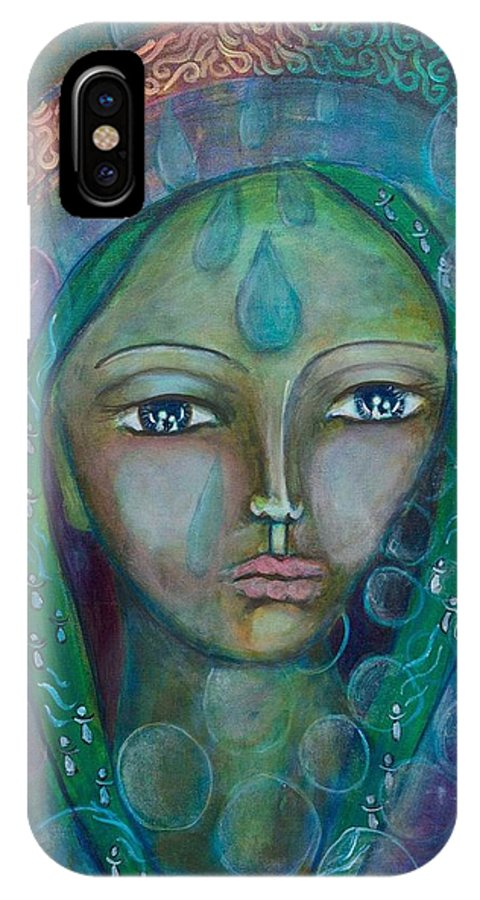Sacred Feminine IPhone X / XS Case featuring the painting Visioning Woman Of Living Waters by Havi Mandell