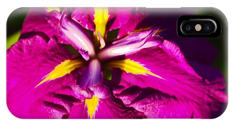 Iris IPhone X Case featuring the photograph Vivid Iris by Ray Konopaske