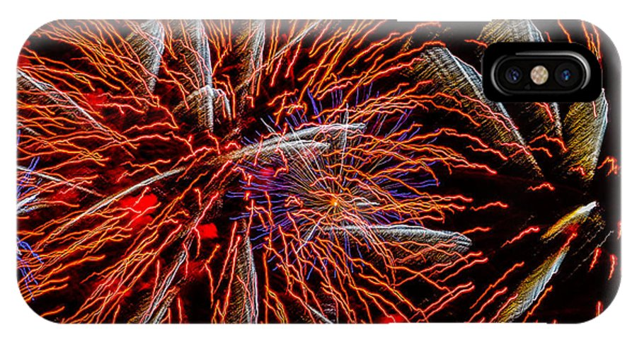 Fireworks IPhone X Case featuring the photograph Vivid Red by Christopher Biggers