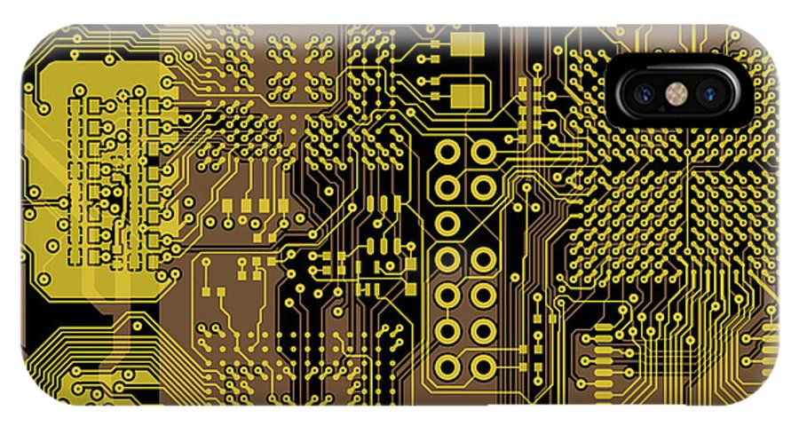 Circuit IPhone X Case featuring the digital art Vo96 Circuit 5 by Paul Vo