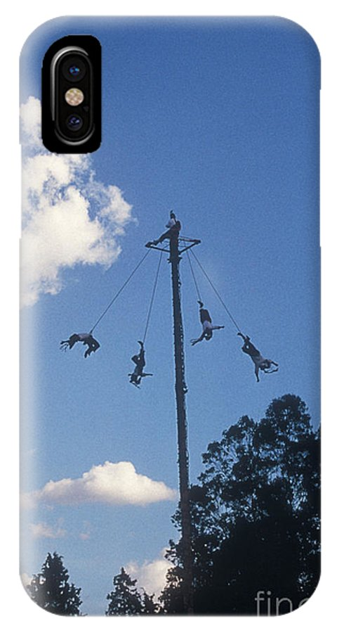 Mexico IPhone X Case featuring the photograph Voladores El Tajin Mexico by John Mitchell