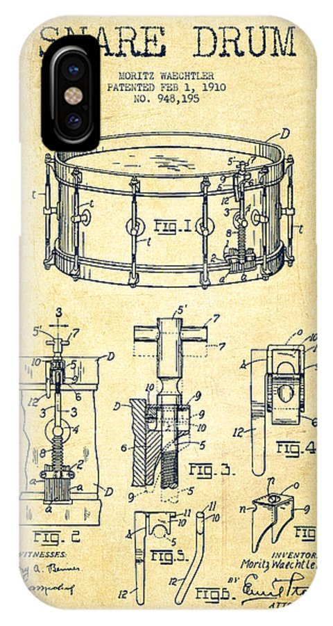 Snare Drum IPhone X Case featuring the digital art Waechtler Snare Drum Patent Drawing From 1910 - Vintage by Aged Pixel