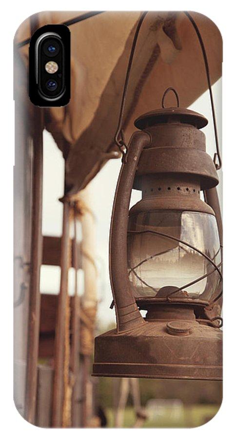 Lantern IPhone X Case featuring the photograph Wagon Lantern by Toni Hopper