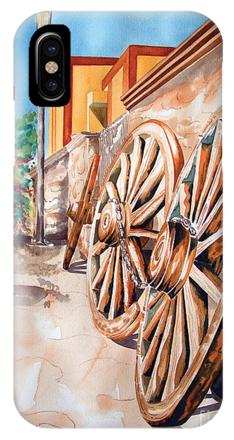 Landscape Paintings IPhone Case featuring the painting Wagon Wheels by Kandyce Waltensperger