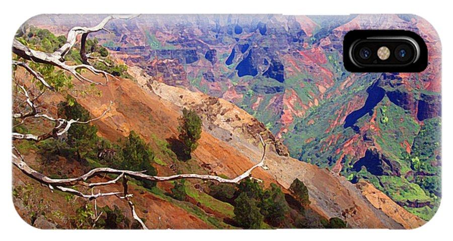Waimea Canyon IPhone X Case featuring the painting Waimea Canyon 1 by Ellen Henneke