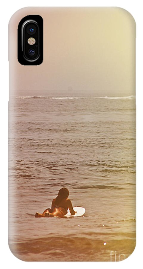 Young IPhone X Case featuring the photograph Waiting For A Wave by Tom Gari Gallery-Three-Photography