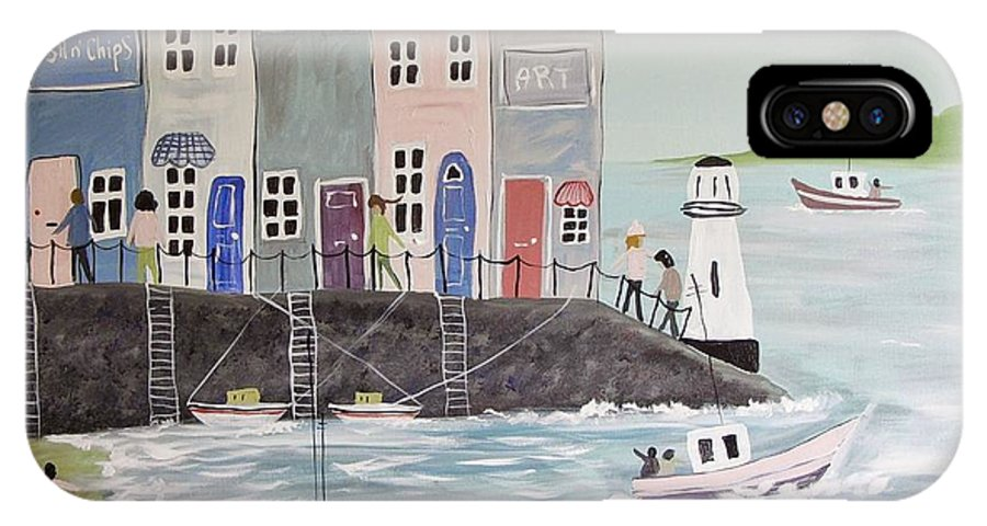Seagulls IPhone X Case featuring the painting Waiting For The Shops To Open by Trudy Kepke