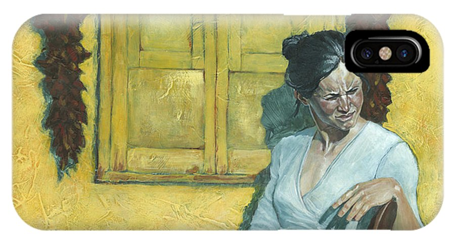 Woman IPhone X Case featuring the painting Waiting I by David Riley