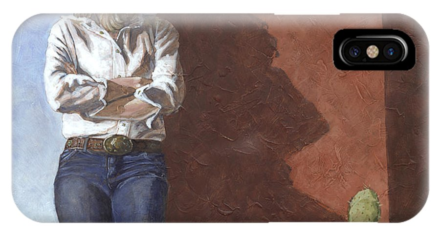 Woman IPhone X Case featuring the painting Waiting II by David Riley