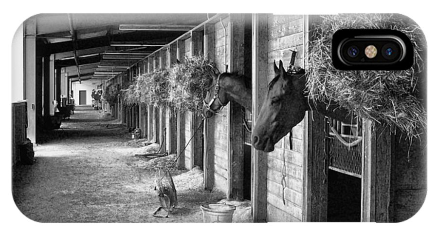 Race Horses IPhone X / XS Case featuring the photograph Waiting To Race by Ron Roberts