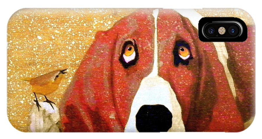 Basset Hound IPhone X / XS Case featuring the painting Wake Up Guy by John Pinkerton