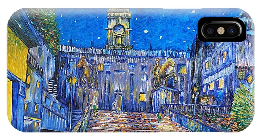 Plaza IPhone X Case featuring the painting Walk Up The Plaza by David Mayville