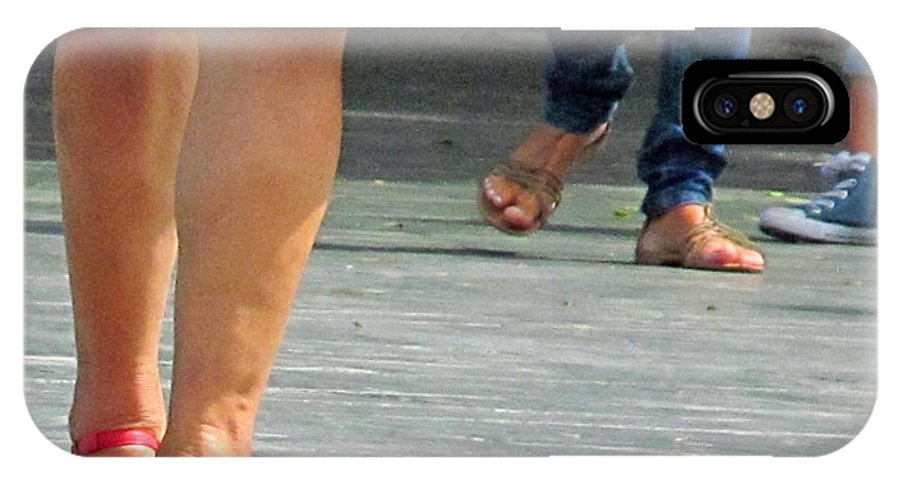 Feet IPhone X Case featuring the photograph Walking In Red Sandals by Tina M Wenger