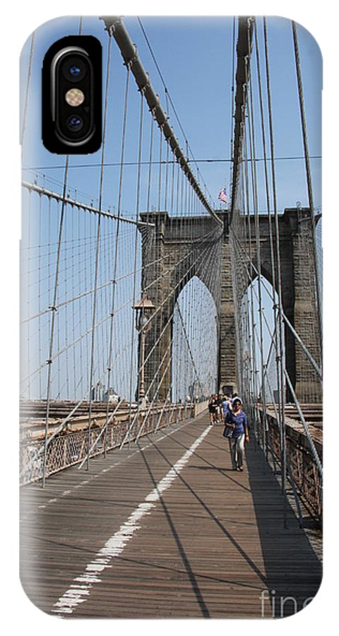 Brooklyn Bridge IPhone X Case featuring the photograph Walking The Bridge by Christiane Schulze Art And Photography