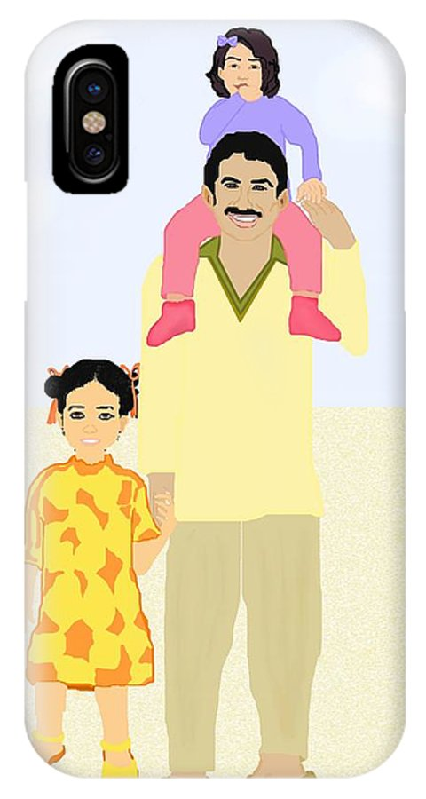 Family IPhone Case featuring the painting Walking With Daddy by Pharris Art