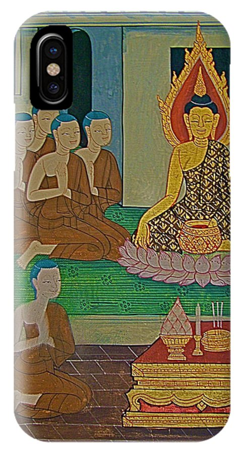 Wall Painting 3 In Wat Po In Bangkok IPhone X Case featuring the photograph Wall Painting 3 In Wat Po In Bangkok-thailand by Ruth Hager