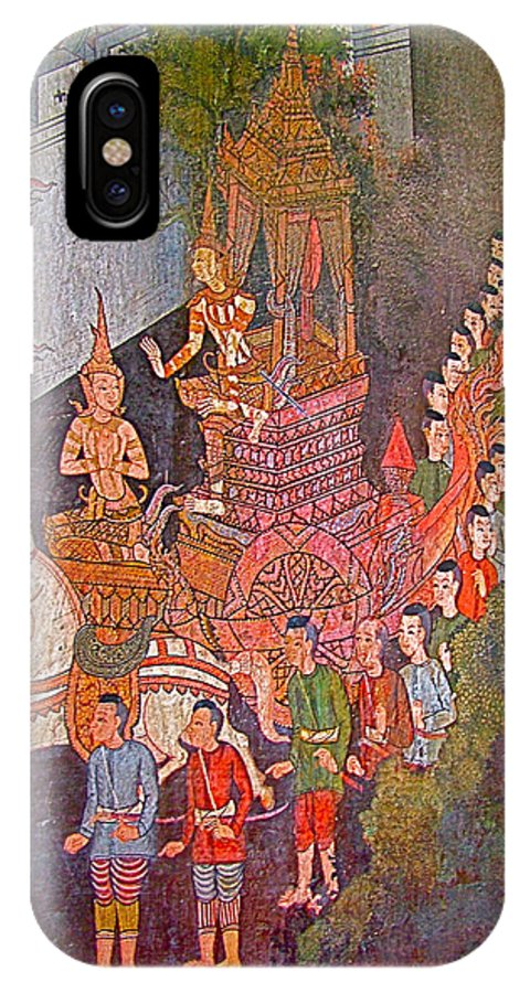Wall Painting In Wat Suthat In Bangkok IPhone X Case featuring the photograph Wall Painting At Wat Suthat In Bangkok-thailand by Ruth Hager