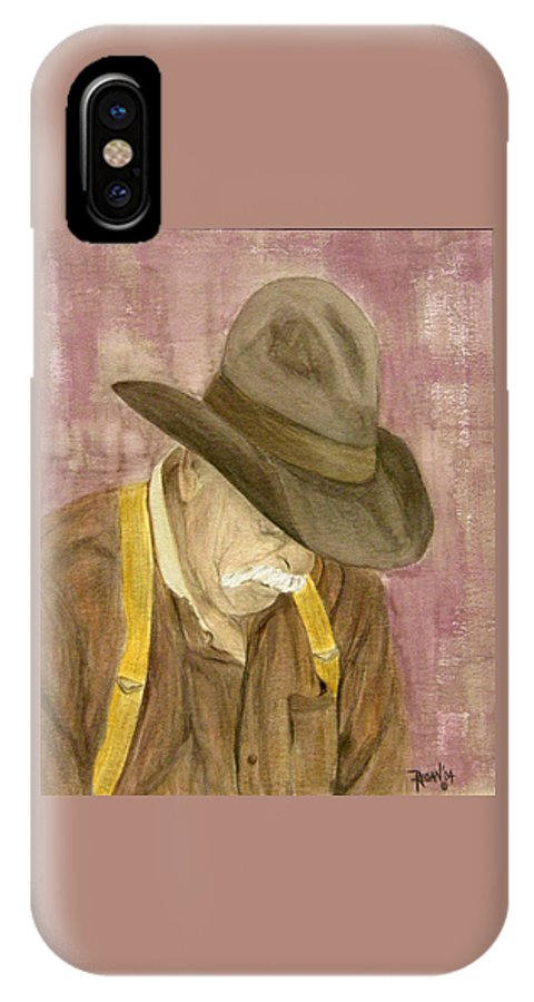 Western IPhone X Case featuring the painting Walter by Regan J Smith