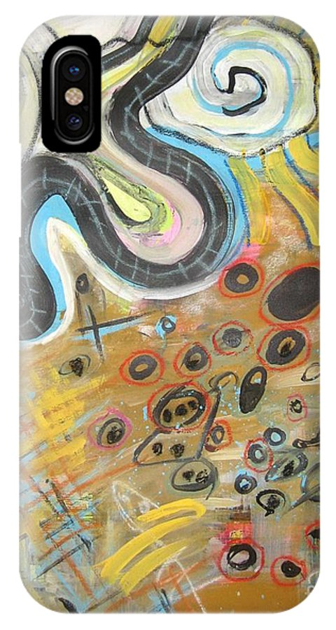 Abstract IPhone X Case featuring the painting Wandering In Thought2 Original Abstract Colorful Landscape Painting For Sale Yellow Blue Green by Seon-Jeong Kim