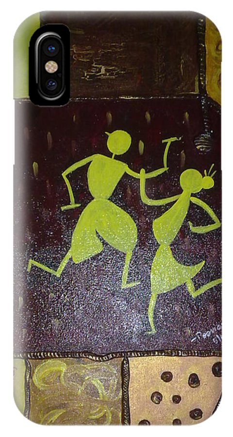 Warli On Canvas IPhone X Case featuring the painting Warli Dance by Poornima Ravi