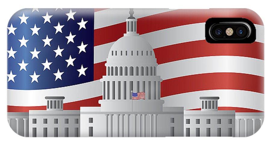 Washington IPhone X Case featuring the photograph Washington Dc Capitol Us Flag Background by Jit Lim