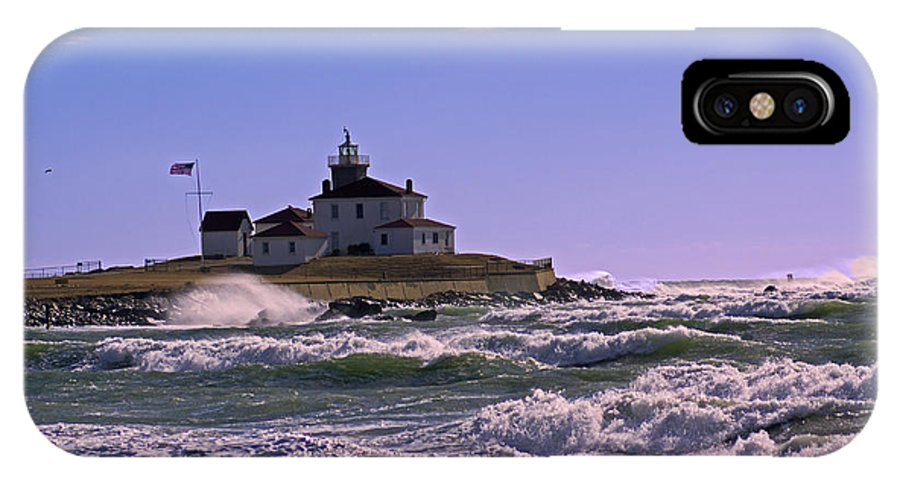 Lighthouse IPhone X Case featuring the photograph Watch Hill Winter by Joe Geraci