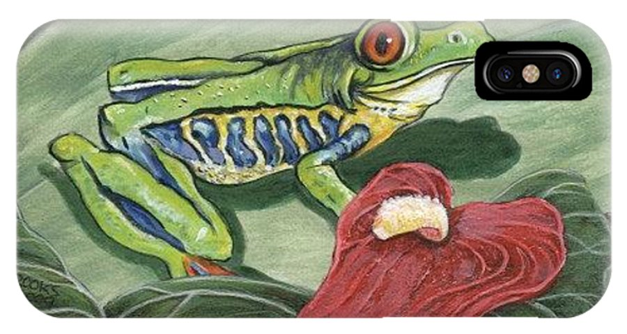 Red Eyed Tree Frog Painting By Richard Brooks. Frog IPhone Case featuring the painting Watching. by Richard Brooks