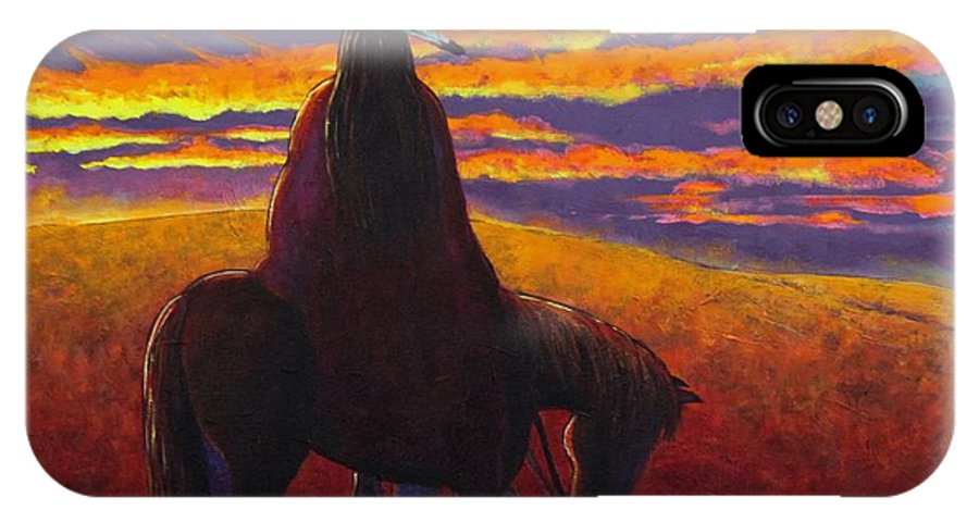 Native American Indian IPhone X Case featuring the painting Watching The Magic by Joe Triano