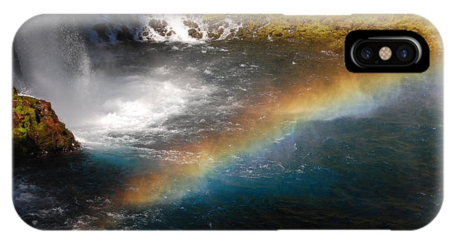 Mcarthur-burney Falls Memorial State Park IPhone X Case featuring the photograph Water And Rainbow by Debra Thompson