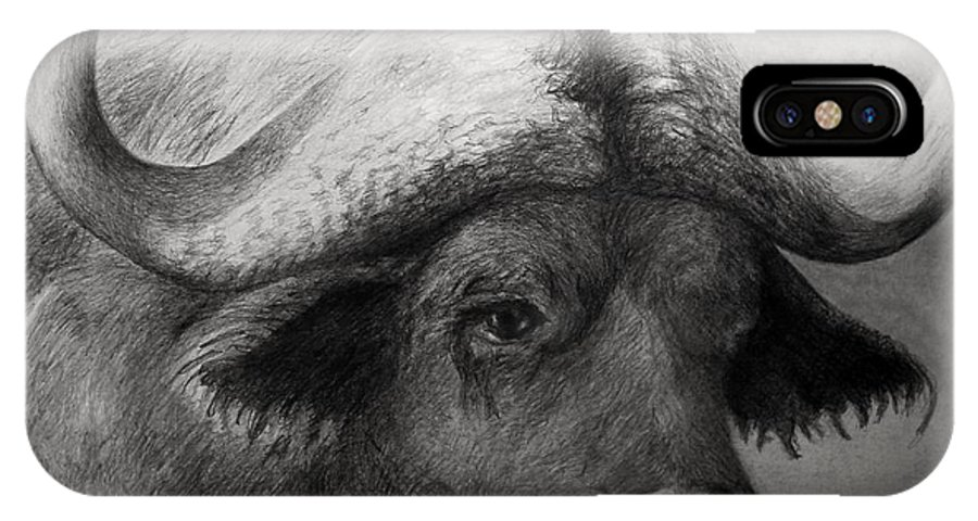 Water Buffalo IPhone X Case featuring the drawing Water Buffalo by Rick Moore
