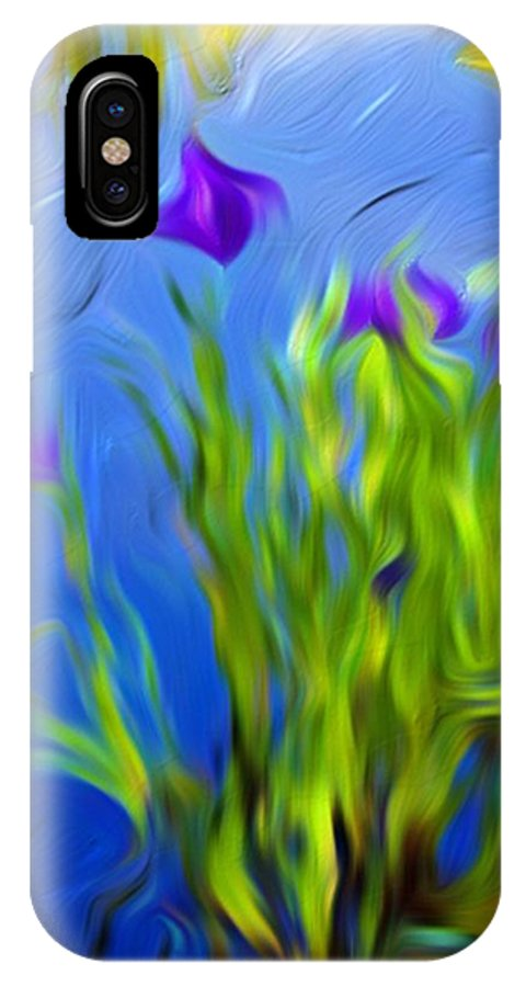Flower IPhone X Case featuring the painting Water Flower by Nelson Bibow