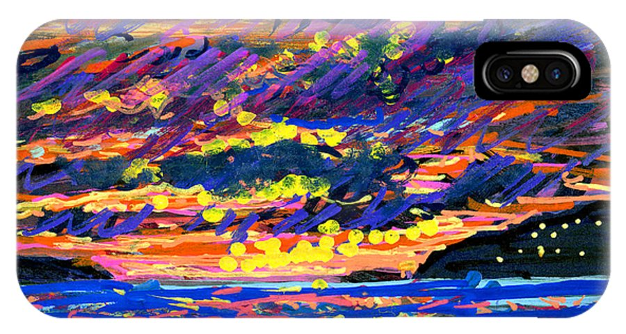 Sunset IPhone X Case featuring the painting Water Island Sunset by Candace Lovely