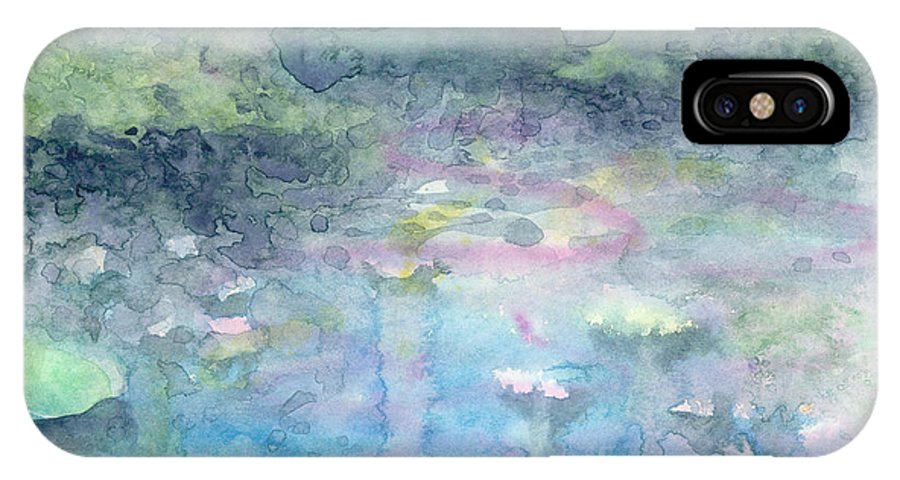 Blue IPhone X Case featuring the painting Water Landscape by Ingela Christina Rahm
