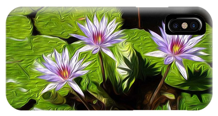 Water Lilies IPhone X Case featuring the digital art Water Lilies by Darlene Freas