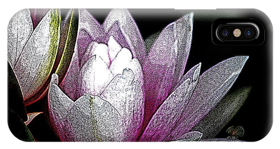 Water Lily IPhone X Case featuring the digital art Water Lilies I by Kathy Sampson