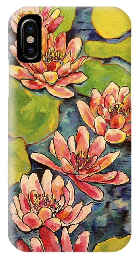 Abstract Floral IPhone X Case featuring the painting Water Lily by Courtney Adair Warren